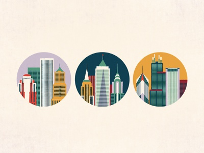 City Icons iconography sears tower empire state building tower building illustration portland new york chicago skyscraper architechture skyline icon city