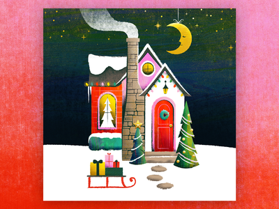 Christmas Cottage cozy gifts presents sled chimney moon tree holiday christmas retro texture cottage house illustration