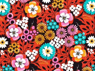 Red Orange and florals bold retro botanical surface design illustration flower floral pattern