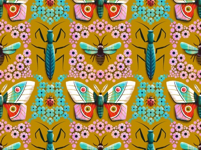 Where there are flowers bee praying mantis lady bug illustration moth flower bug insect pattern