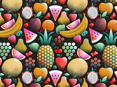 Fruities! pearl blackberry raspberry apple grapefruit grapes dragonfruit strawberry watermelon pear banana fruit pattern illustration