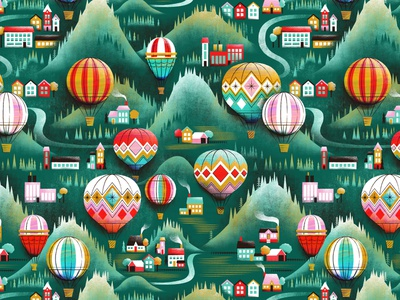 Hot air balloon pattern maps mountain town farm map landscape countryside hot air ballon pattern illustration