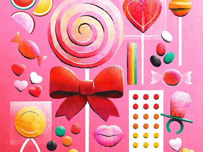 Valentine's Candy ringpop lollipop texture editorial illustration candy valentines illustration