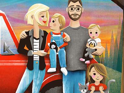 Family Portrait landscape child toddler children art dad mom children people illustration family portrait
