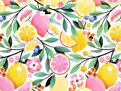 Pink Lemonade Pattern surface design botanical pink lemonade lemon floral flower illustration pattern