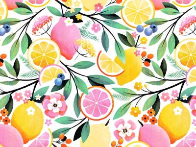 Pink Lemonade Pattern surface design botanical pink lemonade lemon floral flower illustration pattern