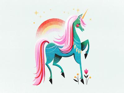 My Little Unicorn fairytale magical texture colorful rainbow retro horse illustration unicorn