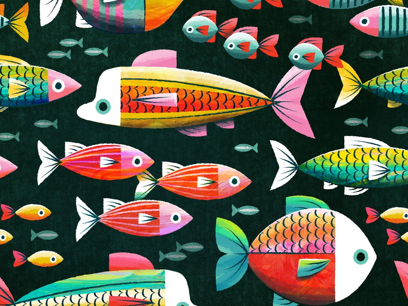 Fishy Fishy sealife illustration surface design coloful children kids ocean fish pattern
