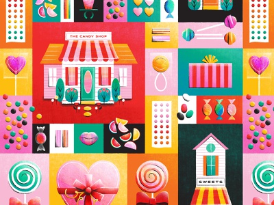 Candy Shop Pattern vector pattern house cottage lollipop colorful sweet candy shop candy