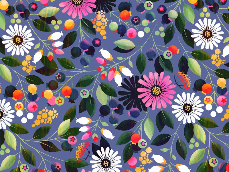 Sunset Blueberries summer floral flower coneflower blueberries botanical illustration surface design pattern