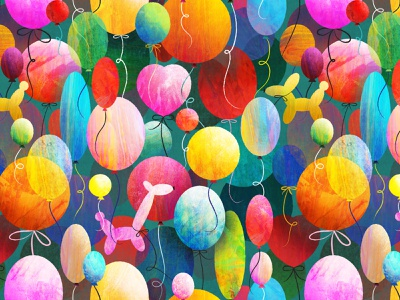 Party Balloons children kids colorful balloons birthday illustration surface design pattern