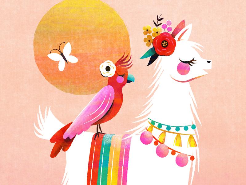 Sunshine Alpaca kid lit llama children book illustration kidlit illustration floral sunshine sun bird tropical alpaca