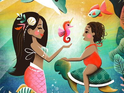 Magical Seahorse illustration ocean life sea turtle seahorse children book illustration kid lit mermaid under the sea under water ocean