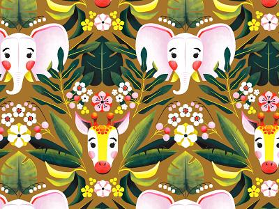 Jungle Pattern flower floral palm leaf palm jungle giraffe elephant illustration pattern