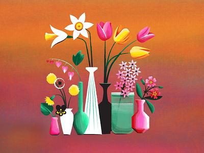 Fresh Cut Flowers dandelion daffodil tulip spring botanical vector texture flower floral illustration