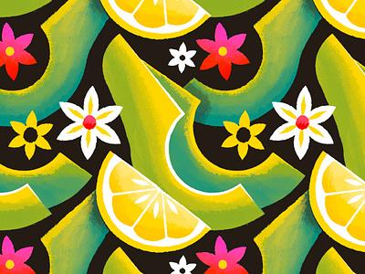 Avocado pattern surface design floral flower texture illustration guacamole lemon pattern avocado