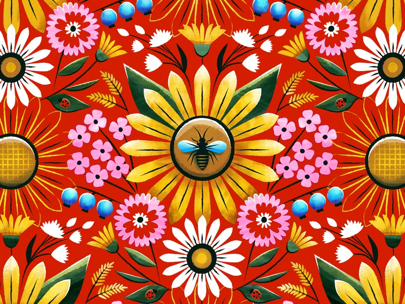 Summer Buzz ladybug blueberry retro summer bee sunflower illustration surface design pattern design pattern