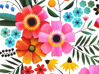 Flowers in my favorite colors botanical colorful texture vector illustration art patterndesign surfacedesign flower floral illustration