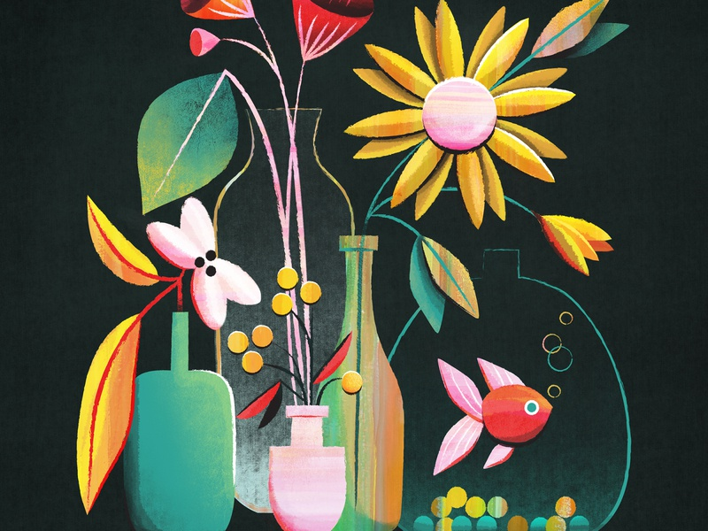 Flowers and a fishy photoshop vector bubbles leaf bottles still life fish floral flower texture flat illustration