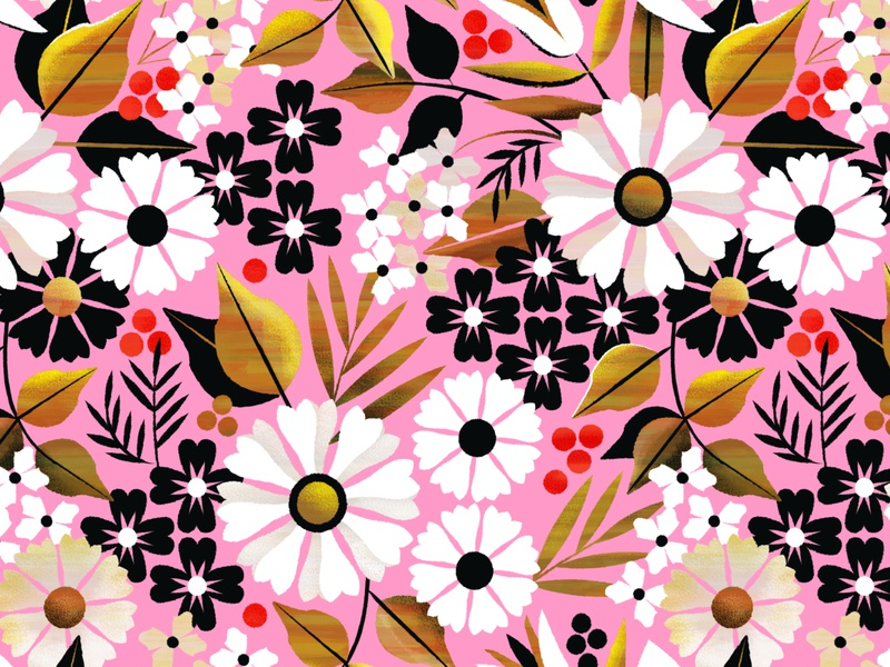 Sweet September vector texture flora summer autumn fall berry flower floral pattern