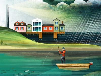 Last Cast fisherman fish fishing rod sea bay ocean lighthouse boat fishing vector texture illustration