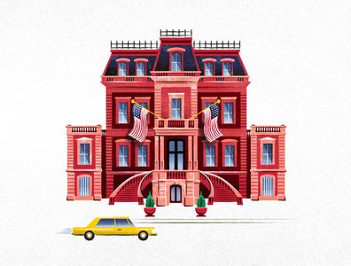 Union League of Philadelphia philadelphia city taxi architecture map illustration