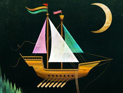 Flying Ship stars sky moon illustration folktale flying ship