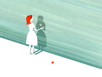 Heartbreak girl person texture shadow heart broken heart heartbreak editorial conceptual illustration