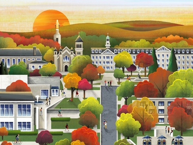 Fall Campus texture fall autumn map college campus illustration