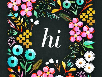 Hi botanical color texture flower floral illustration
