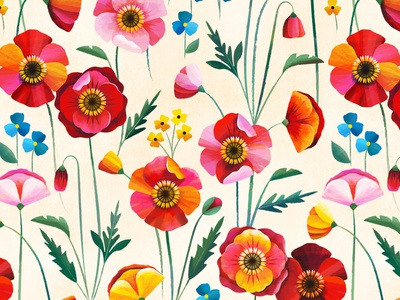 Poppy Party pattern botanical spring floral flower poppy
