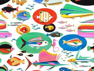Fishy Fish illustration colorful ocean fish pattern