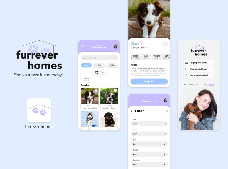 furrever homes animal pet pet adoption mobile app ux ui design