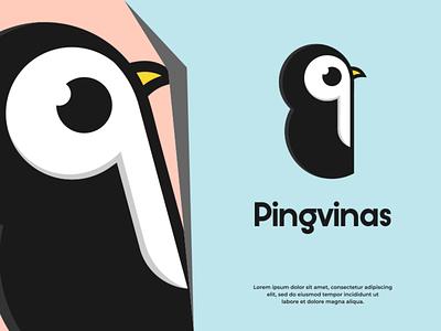 Pingvinas pingwin typography logotype branding logo design ui illustration vector design logo