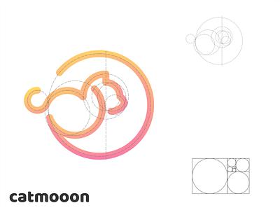 catmoon logo line art best golden ratio logo grid simple moon cat cute drawing typography ux ui logodesign vector corporate branding design logo illustration branding