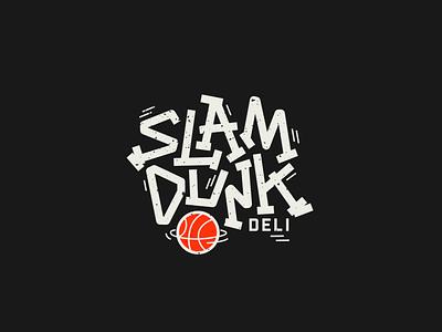 SLAM DUNK DELI sandwich subs deli slamdunk basketball logo branding design retro athletic