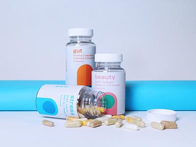 Routine Vitamins and Supplements design logo branding pill stress beauty gut supplement label design supplements vitamins bottle