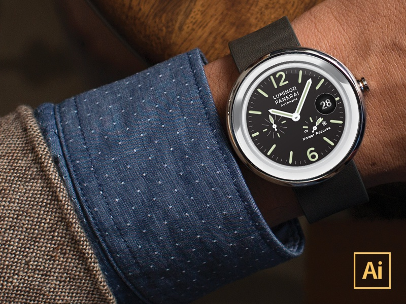 [FREE] Moto360 Vector Watchface  simple template download free frebie watch iwatch mockup clean realistic moto360 vector