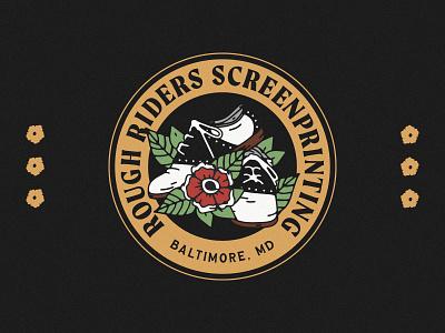 Rough Riders Screenprinting ux vector ui minimal logo illustration graphicdesign graphic design branding