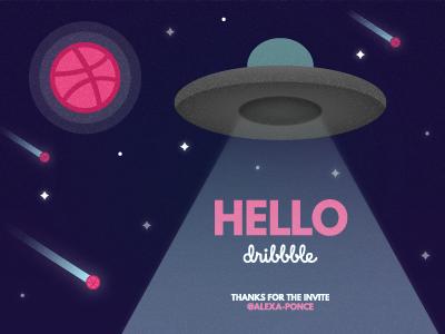 Hello Dribbble! stars asteroids inception abduction design illustration texture ufo shots shot debut shot debut