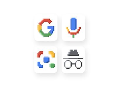 Google Pixel Icons voice search design ui incognito icons pixelart pixel google