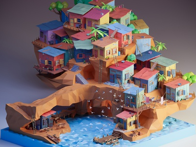 Fishing village - low poly