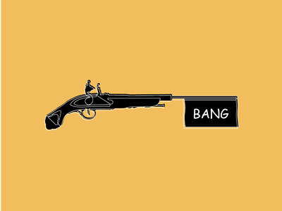 The Jokers Great Great Great Grandfather Weapon of Choice mustard monochromatic bang musket lineart illustration illustrator graphicdesign graphic design adobe