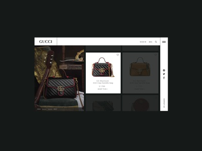 Gucci product page design design gucci product page webdesign typogaphy ux  ui ui