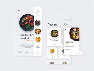 Restaurant Delivery Menu App app design ux design menu design food app neomorphism ui