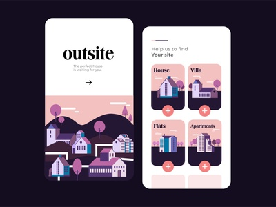 Outsite Onboarding Screens ux illustration onboarding screens app design app design ui