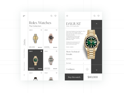 Rolex shop app design uiuxdesigner uiuxdesign uiux branding dribble shot app design app ux typogaphy ui