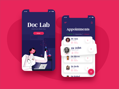 Doc Lab - Healthcare Made Easy App application healthy health app healthcare appointment booking typogaphy illustration app design app ux design ui