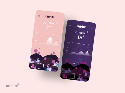 Outsite | Weather App illustration vector uiux ux design uidesign outsite weather app app design ux ui