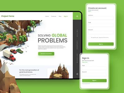 Project Terra Landing Page website design projectterra 3d art typography website webdesign app design app web ux uiux ui design ui